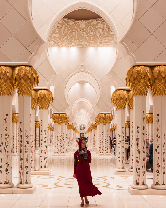 Abu Dhabi Sheikh Zayed grand mosque side archways by Dancing the Earth