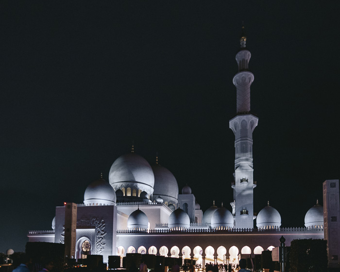 Abu Dhabi Sheikh Zayed grand mosque side view by Dancing the Earth