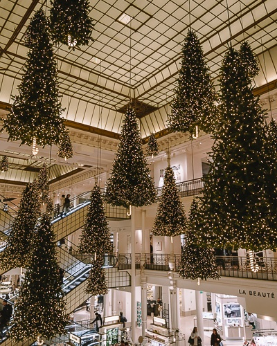 Christmas in Paris decorations at Le Bon Marché by Dancing the Earth