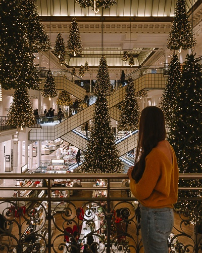 Christmas in Paris Christmas trees of Le Bon Marché by Dancing the Earth