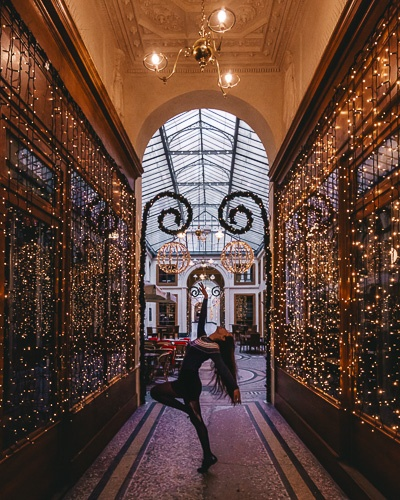 Christmas in Paris entrance of Galerie Vivienne by Dancing the Earth