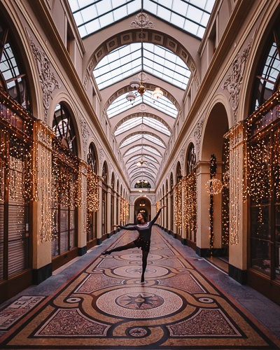Christmas in Paris Galerie Vivienne lights by Dancing the Earth