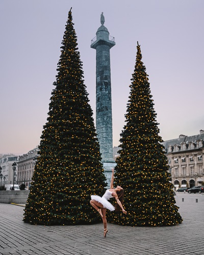 Christmas in Paris dancing in Place Vendôme by Dancing the Earth