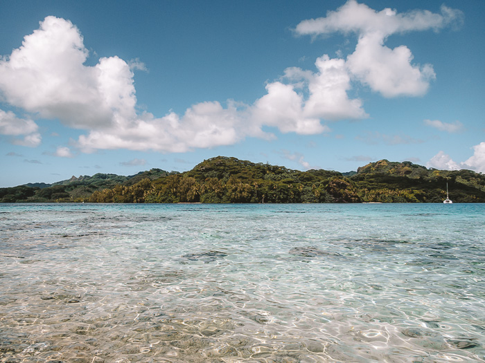 Hana'Iti beach from secret coral garden of Huahine by Dancing the Earth