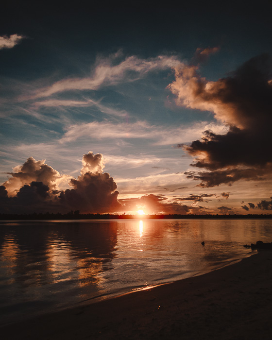 Sunset from Tereia Beach in Maupiti by Dancing the Earth
