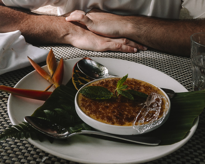Creme brulée at Taha'a Island resort and spa by Dancing the Earth