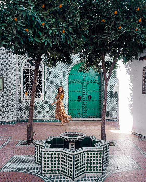 Morocco travel guide Chefchaouen green tiles and orange trees by Dancing the Earth