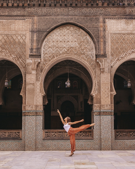 Morocco travel guide Fes Bou Inania Medersa carved wood and tiles walls by Dancing the Earth