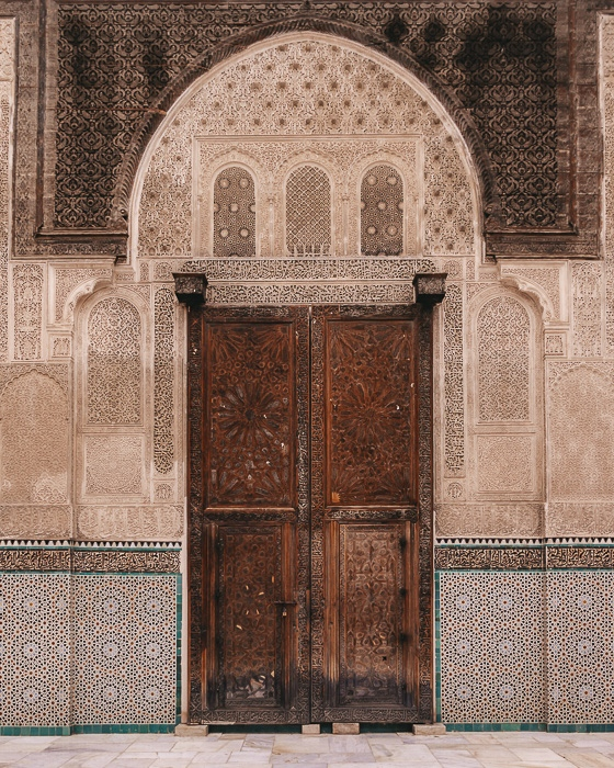 Door of Bou Inania Medersa in Fes by Dancing the Earth