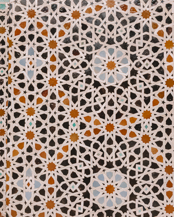 Bou Inania Medersa tiles details by Dancing the Earth