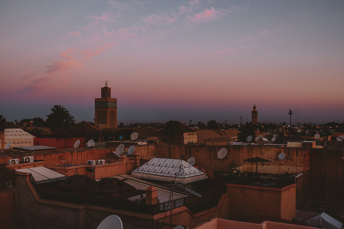 Morocco travel guide blue hour over Marrakesh from riad Ksar Kasbah by Dancing the Earth
