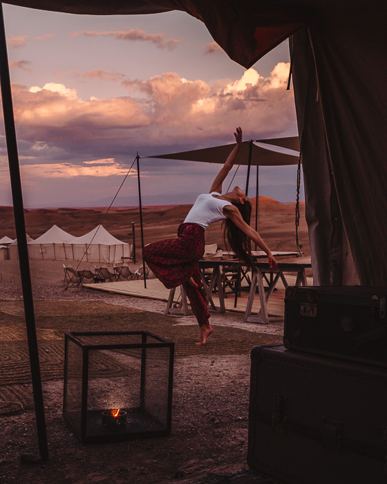 Morocco travel guide Scarabeo Camp sunset by Dancing the Earth