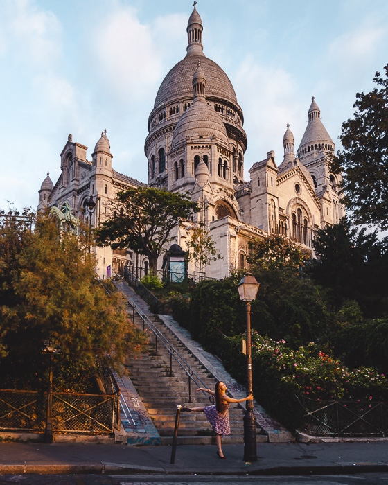Paris in Summer Montmartre staircases to Sacre Coeur by Dancing the Earth