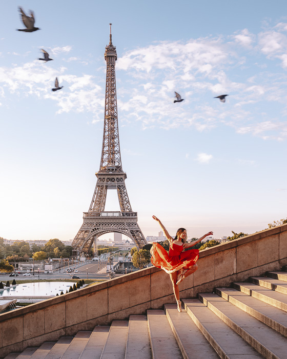 Paris in Summer Trocadero staircases at sunrise by Dancing the Earth