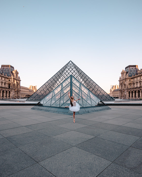 behind Louvre pyramids by Dancing the Earth