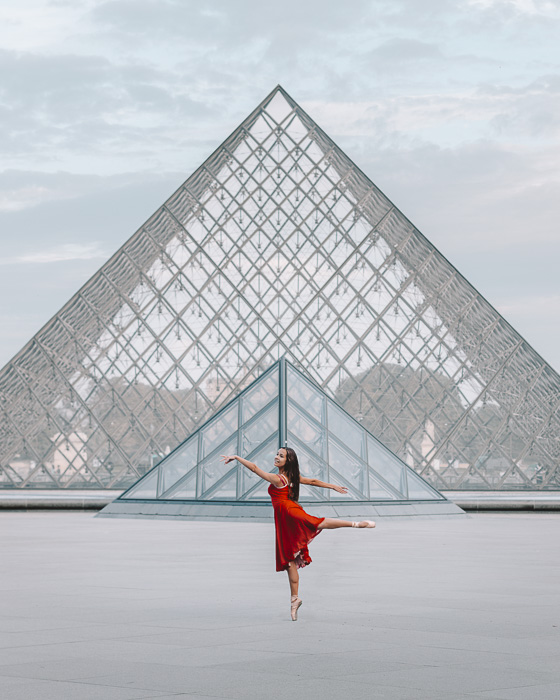Paris Winter Louvre pyramids from behind by Dancing the Earth