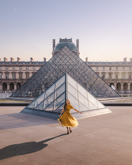 Paris winter Louvre pyramids from the side by Dancing the Earth