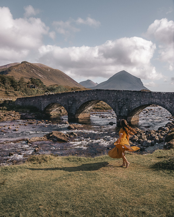 Scotland travel itinerary Sligachan old bridge and Cuillin hills by Dancing the Earth