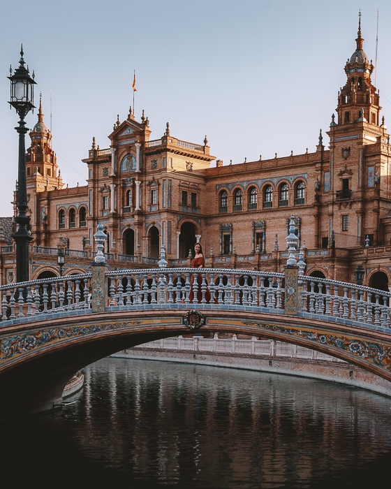Seville Plaza de Espana bridge from a distance by Dancing the Earth