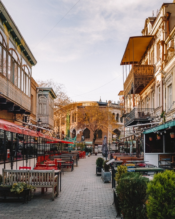 Tbilisi old town street at sunrise by Dancing the Earth