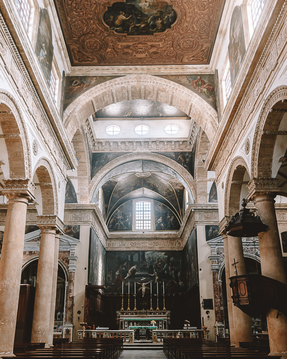 Inside the Cathedral of Gallipoli, Puglia travel guide by Dancing the Earth