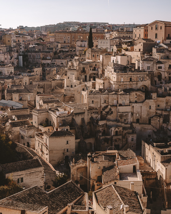 Golden hour on the Sassi di Matera from the Belvedere of the Cathedral