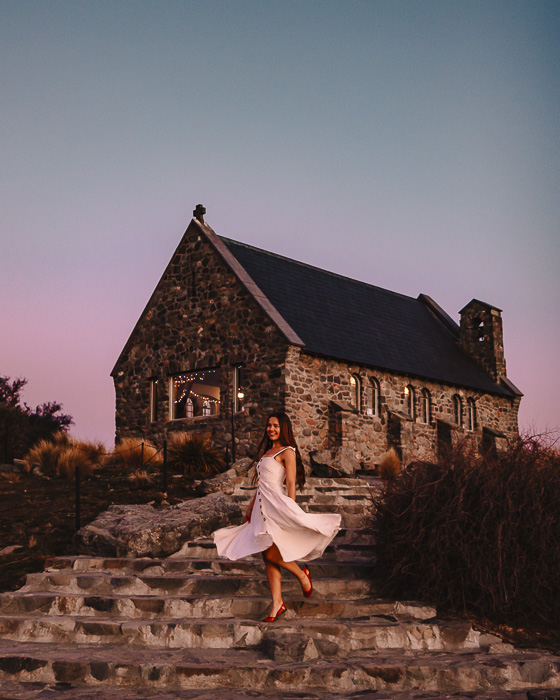 Sunset at the Church of the Good Shepherd, South Island, Dancing the Earth