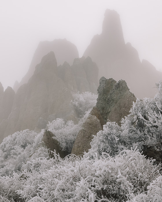 Clay Cliffs in the fog and snow, Dancing the Earth