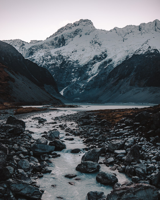 Mueller Lake from the suspension bridge of Hooker Valley track, Dancing the Earth