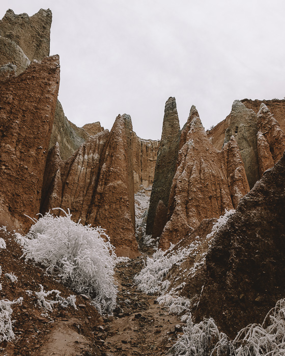 Clay Cliffs and snow, Dancing the Earth