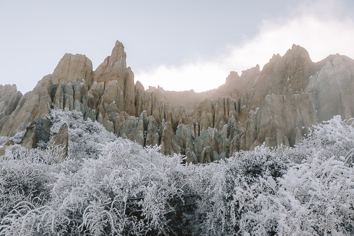 Panorama of the Clay Cliffs, South Island, Dancing the Earth