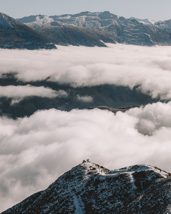Above the clouds at Roys Peak summit, Dancing the Earth
